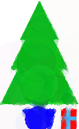 Christmas tree and present image evolved from circles
