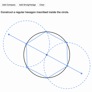 Example of a compass construction exercise on Khan Academy