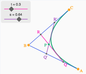 Interactive diagram for calculating the position of a point on a parabola